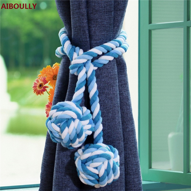 AIBOULLY 2Pcs/Set 100% Cotton Rope Braided Curtain Tieback Tassel Cotton Rope Tie Backs with Balls American Pastoral Style