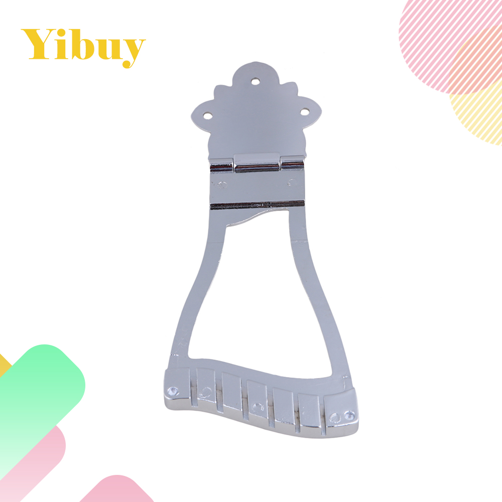 Yibuy Chrome Guitar Bridge Tailpiece For Hollowbody Gutiar yibuy flower pattern design tailpiece for mandolin