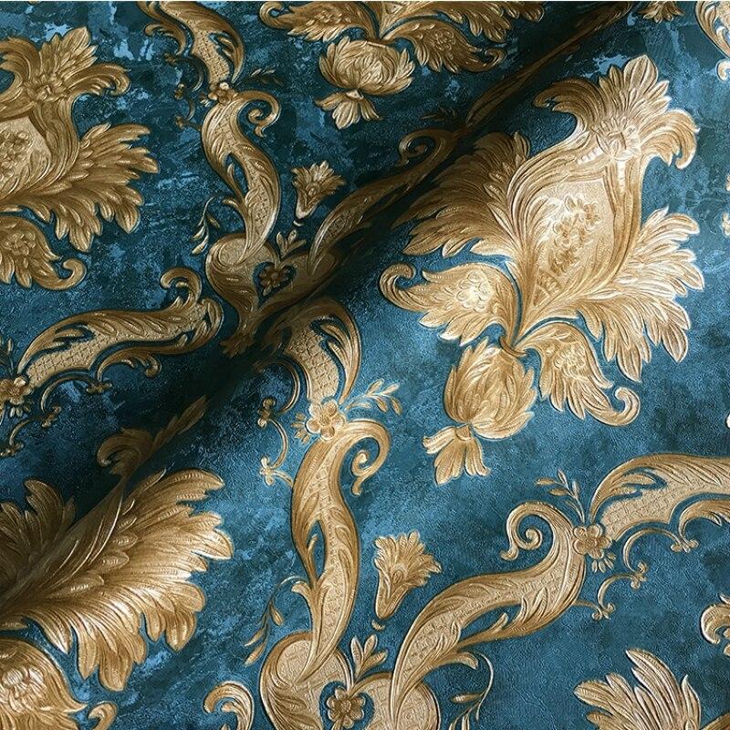 Vintage Classic Damask Wallpaper Roll Navy Blue Gold Metallic