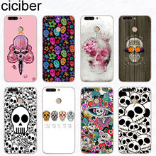 ciciber Sugar Skull For Honor 7A V 10 9 8 Pro Lite X C Play Soft TPU Phone Cases For Y 9 7 6 5 3 Prime Pro 2017 2018 2019 Fundas(China)