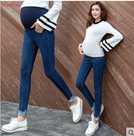 Elastic Waist Plus Size Women Belly Pants for Pregnant Jeans Maternity Clothes Pregnancy Pants Maternidade Vetement Grossesse