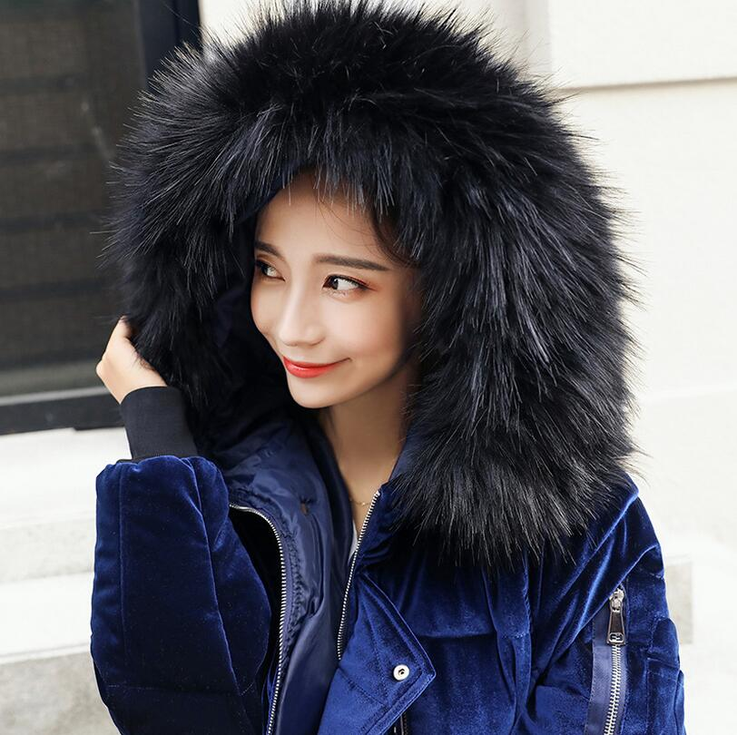 2017 new winter women fashion Gold Velvet coat Large Fur Collar thick warm Down Wadded Jacket overcoat s1213