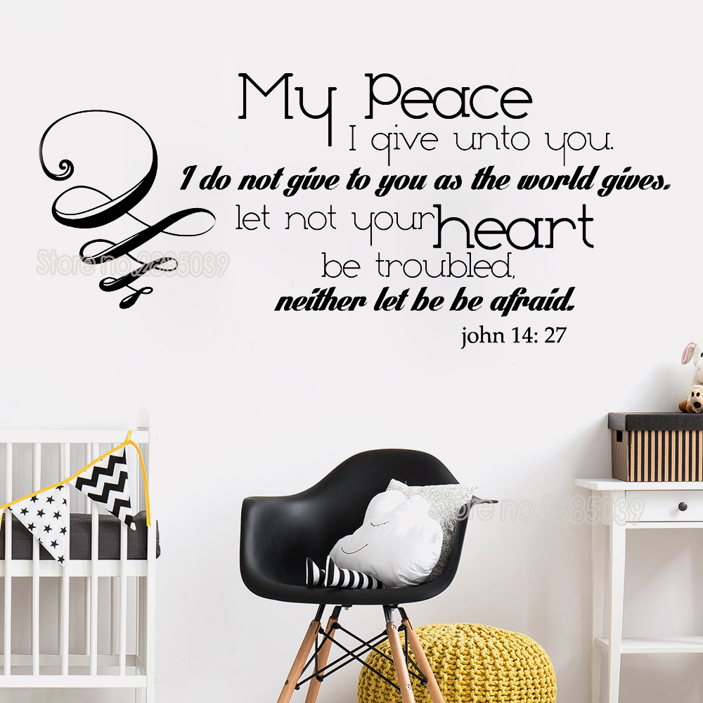 Hot Sale New John 14 27 Quotes Wall Stickers Home Decor My Peace I