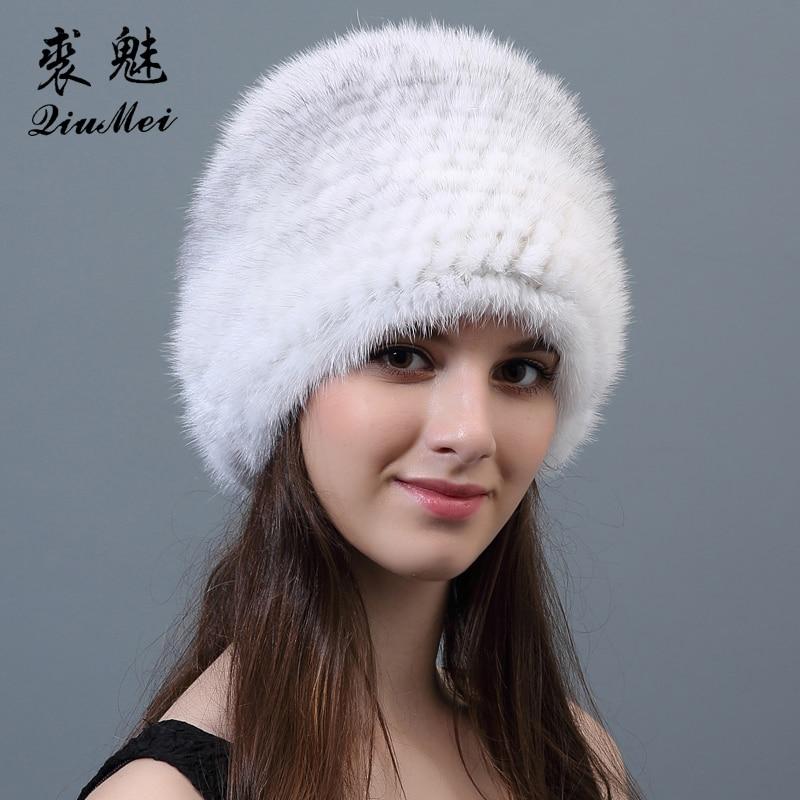 Thicken Knitting Fur Hats Genuine Mink Caps 2018 New Female Ladies Fur Beanies Solid Mink Hat