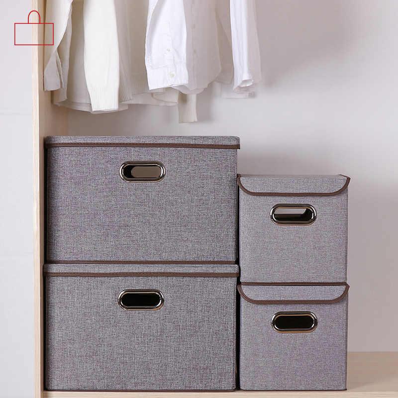 Folding Praça cotton linen Retângulo de armazenamento caixa de armazenamento de roupas grande armário organizador bin com tampa do recipiente portátil