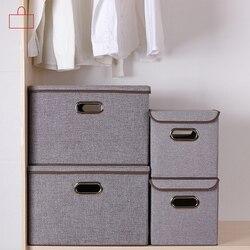Plegable cuadrado de algodón ropa de cama caja de almacenamiento armario grande rectángulo de almacenamiento bin organizador con cubierta portátil contenedor