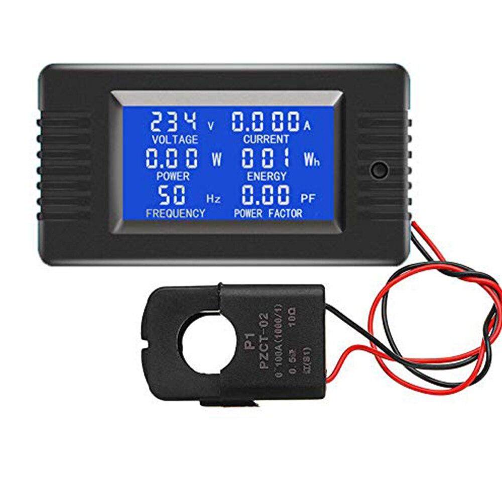 1 pces aberto e próximo ct 100a ac display digital medidor de monitor de energia voltímetro amperímetro freqüência atual tensão fator medidor