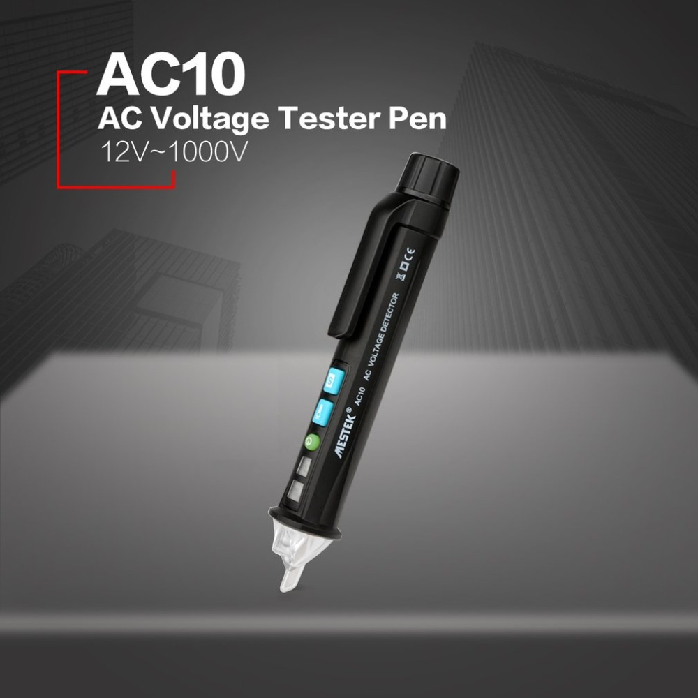 MESTEK AC10 AC Voltage Tester Pen Non-Contact Volt Detector Stick Adjustable Range Soundlight Alert 12V~1000V With Flashlight