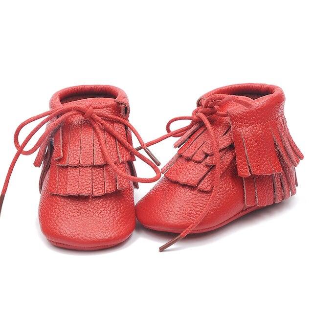 50 пар/лот Натуральная кожа Double кисточкой детские мокасины сапоги moccs детская мягкая обувь фрингс Малыша обувь лучший Рождественский подарок