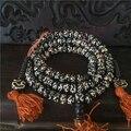 8mm Budismo Tibetano 108 Oración Mantra OM Mani Padme Hum hueso Bolas Collar de Mala