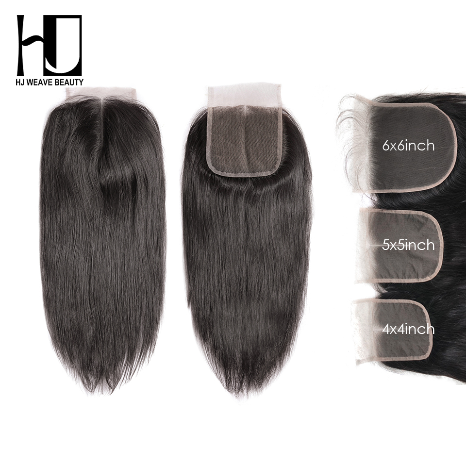 HJ WEAVE BEAUTY 5x5 6x6 Lace Closure Peruvian Straight Remy Human Hair HD Transparent Lace Closure Swiss Lace Free Shipping