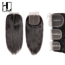 HJ WEAVE BEAUTY 5x5 6x6 lace closure Indian Straight Remy Human Hair HD Transparent Lace Closure Free Shipping(China)