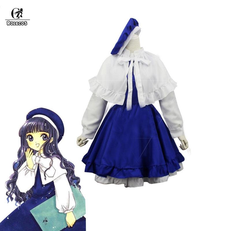 ROLECOS Cardcaptor Sakura Anime Cosplay Tomoyo Daidoji Cosplay Costume Parent-Child Dress Navy Uniform Halloween Party Children