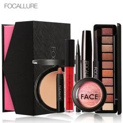 FOCALLURE Makeup Sets Warm Nude Eyeshadow Black Mascara face powder eyeliner pen Pro make up kit 8 pcs/set for women gift