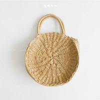 2018 Lady Fresh Handbag Summer Beach Tote Khaki Handmade Rattan Woven Round Handbag Vintage Retro Straw