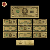 WR Commemorative Gold Plated Banknote America 1000 Dollars Fake Bills Luxury Ornament Art Crafts for Collection