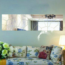 7Pcs Moire Mirror DIY Wall Sticker Removable Decal Art Mural Home Bedroom Decor Stickers