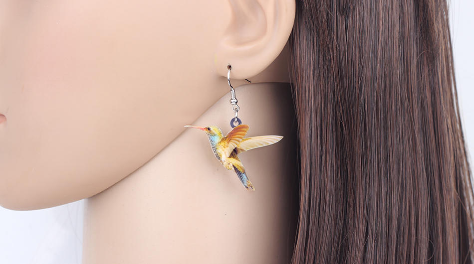 Bonsny Acrylic Flying Voilet Sabrewing Hummingbird Bird Earrings Big Long Dangle Drop Fashion Animal Jewelry For Women Girls Kid 8