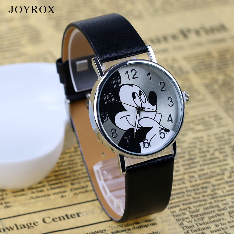 JOYROX Fashion Mickey mouse Pattern Lovers Watch 2017 High Quality Leather Strap Quartz Wristwatch Casual Women Men Girls Clock joyrox minions pattern children watch 2017 hot despicable me cartoon leather strap quartz wristwatch boys girls kids clock