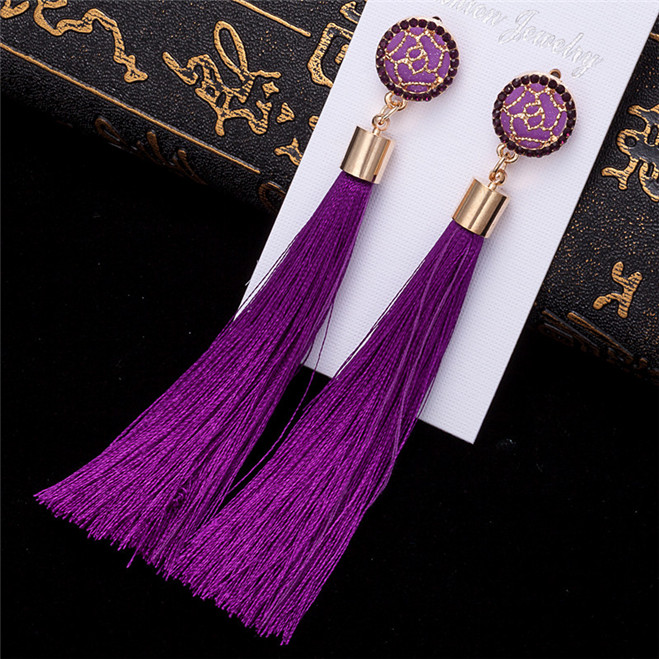 HTB1OHCuV7voK1RjSZFDq6xY3pXad - HOCOLE Bohemian Crystal Tassel Earrings Black White Blue Red Pink Silk Fabric Long Drop Dangle Tassel Earrings For Women Jewelry