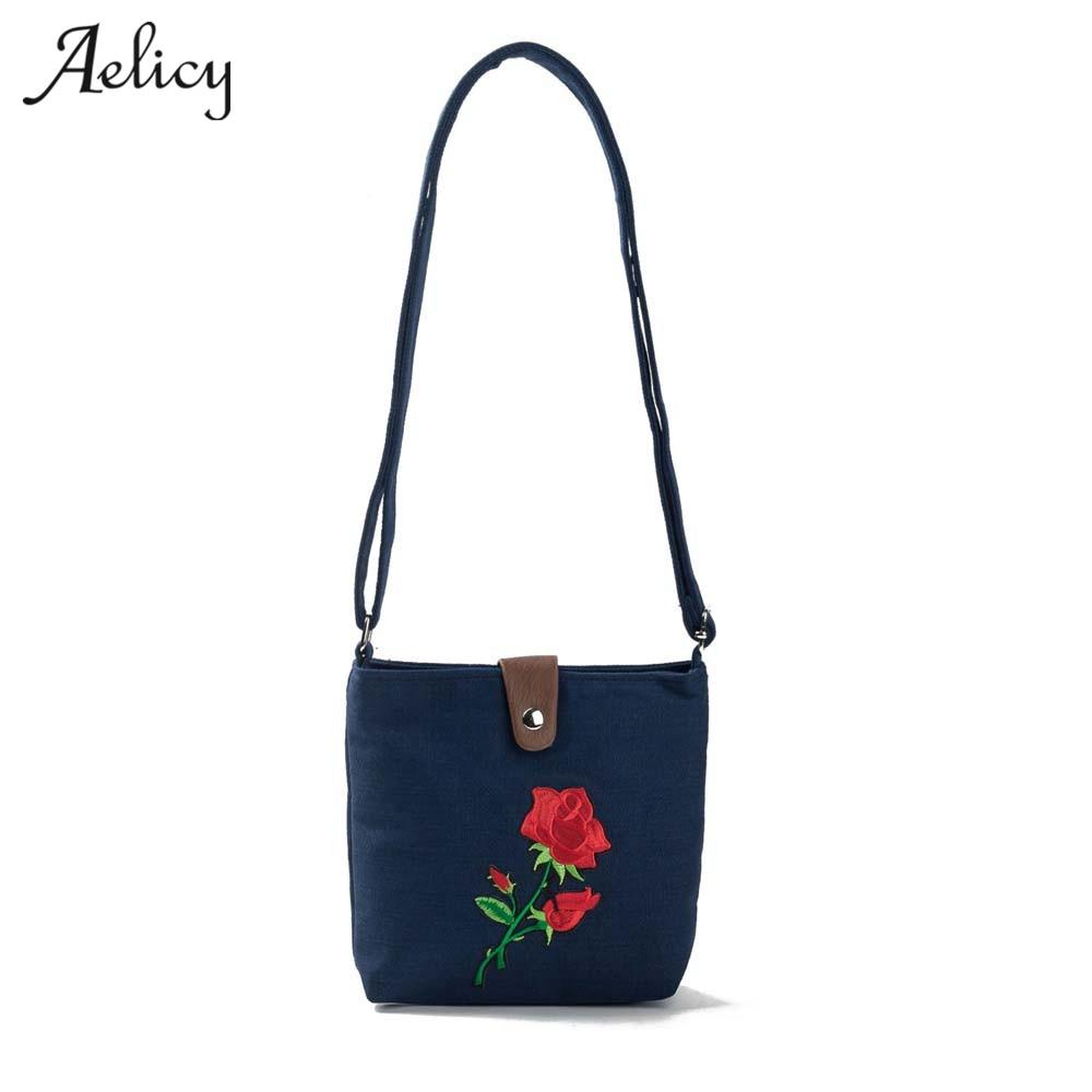 4 Colors Canvas Embroidery Flower Flap Bag Ladies Small Shoulder Bag Brands Designers Bolsa Feminina