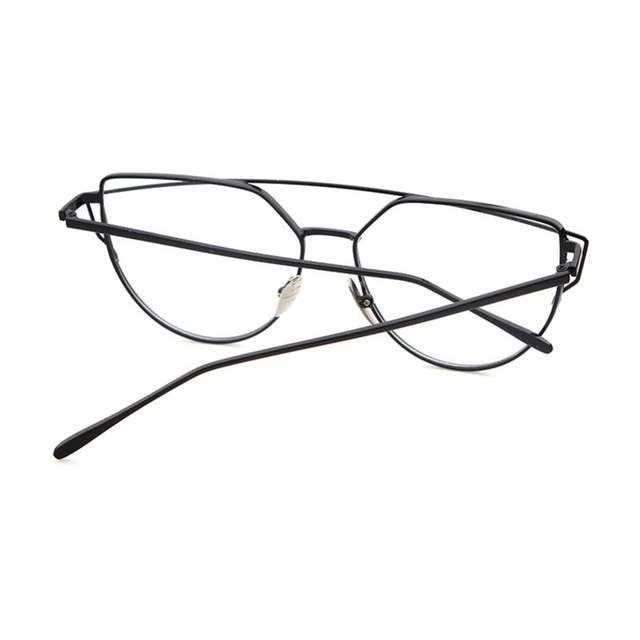 6af53c1ff2ec0 Women Cat Eye Glasses Metal Eyeglasses Frame With Glasses Sexy Girls  Eyewear Oversize Plain Mirror Sunglasses