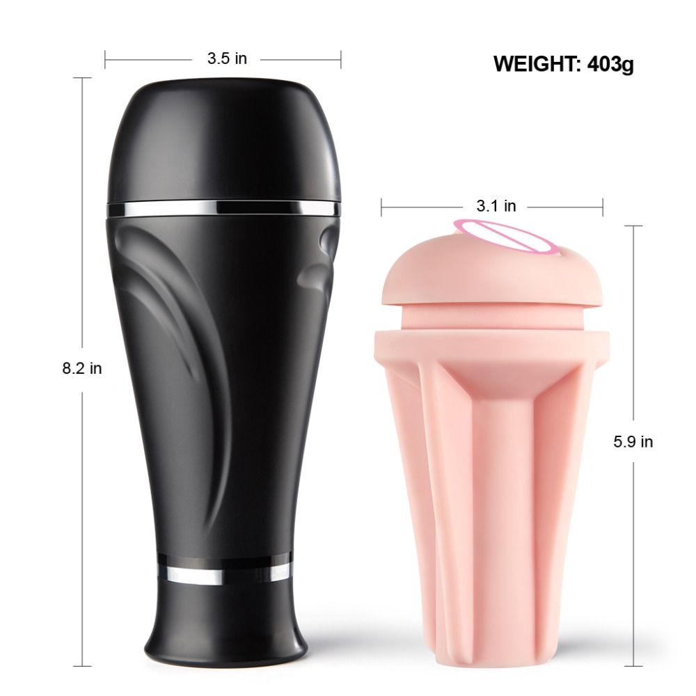 Luvkis Strong Sucking Removable Male Masturbation Cup Black Non-Toxic TPR &  ABS Vagina Realistic Pocket Pussy Sex Toys for Men   Crucial Den