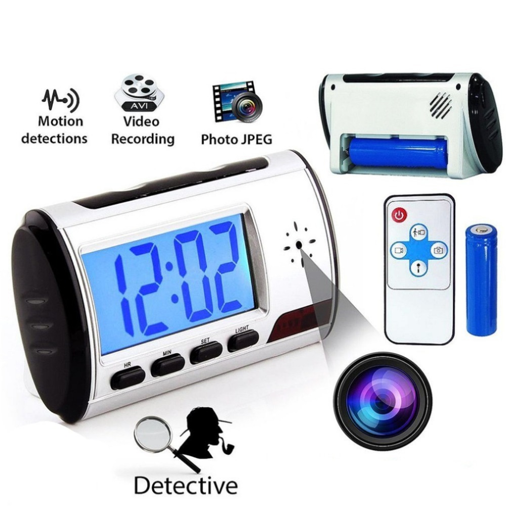 Digital LED Display Detective Square Alarm Clock With Camera video Recorder DVR Recorder Remote Control With Blacklight