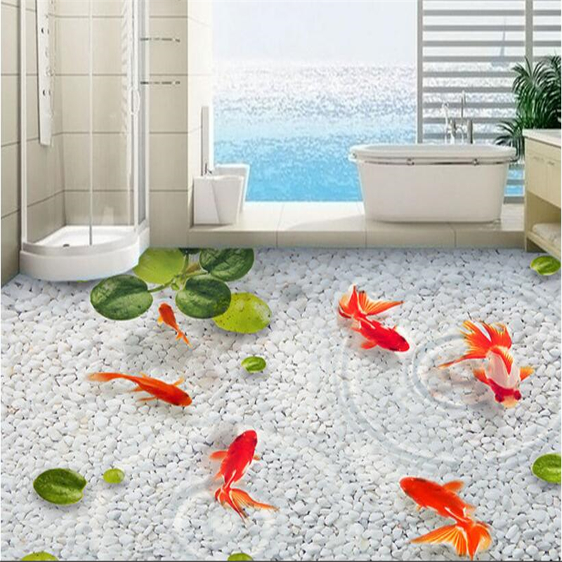 beibehang New Papel de parede fashion stone goldfish three-dimensional painting waterproof self-adhesive wallpaper 3d flooring free shipping flooring custom living room self adhesive photo wallpaper wonderland lotus pool 3d floor thickened painting flower