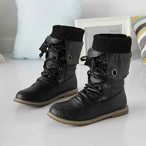 Cộng với kích thước mùa đông tuyết khởi động căn hộ ren up vòng toe mềm da phụ nữ mắt cá chân khởi động màu đen nâu vàng nữ giày người phụ nữ