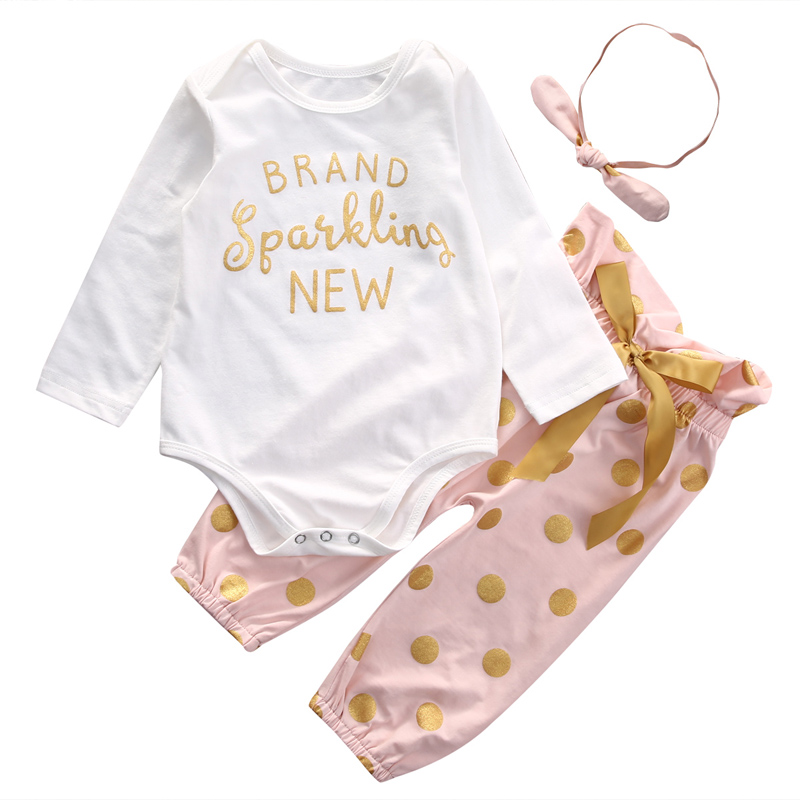3Pcs Casual Newborn Baby Girls Clothes Long Sleeve Letter Tops Romper +Pants Kids Outfits Set Clothes