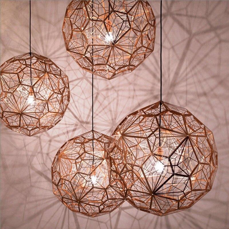 Modern Creative Nordic minimalist stainless steel LED ceiling pendant lamps diamond ball Rose gold living room Pendant Lights цена