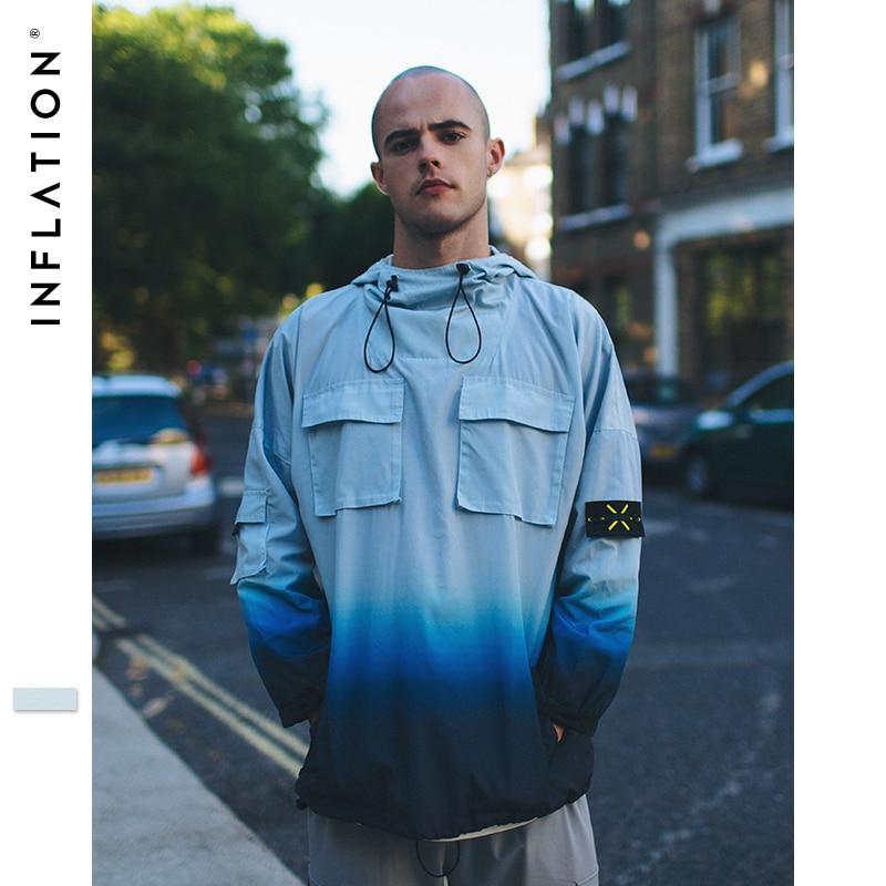 L'INFLATION Dip Colorant Poche Coupe-Vent À Capuche Streetwear Haute Rue Hip hop Lâche Hoodies 2018 Automne Mince Hommes À Capuche 8783 w