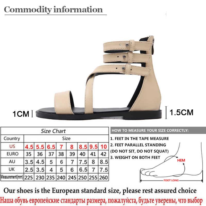 Gdgydh Gladiator รองเท้าแตะผู้หญิงเปิดนิ้วเท้าสีดำหนังฤดูร้อนผู้หญิงรองเท้าเซ็กซี่ Rivets รองเท้าสุภาพสตรี Drop Ship