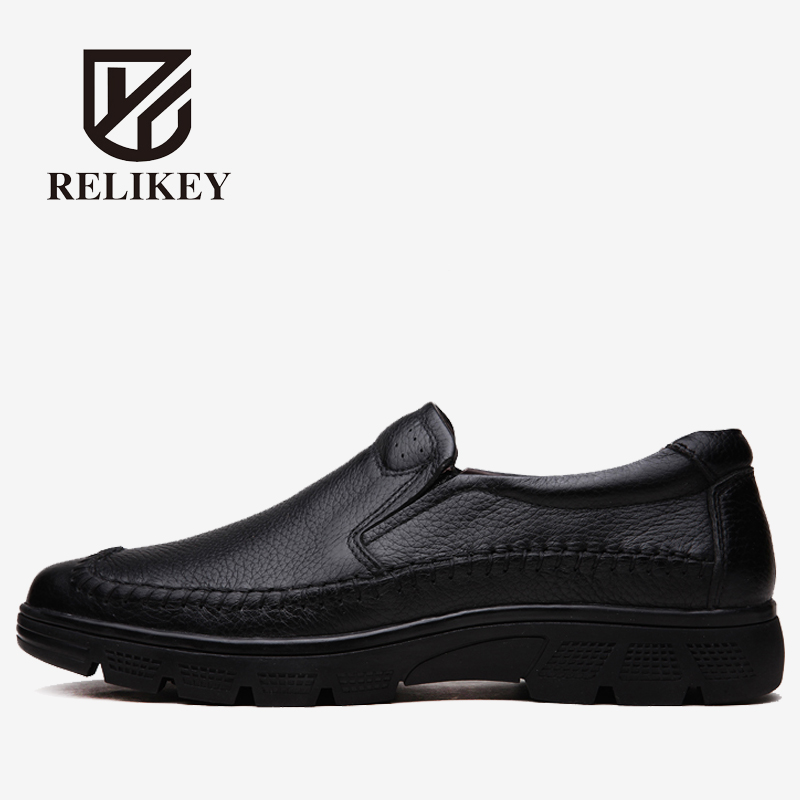 RELIKEY Brand Men Flats Handmade Soft Genuine Leather Autumn Loafers High Quality Causal Driving Shoes for Men relikey brand men casual handmade shoes cow suede male oxfords spring high quality genuine leather flats classics dress shoes