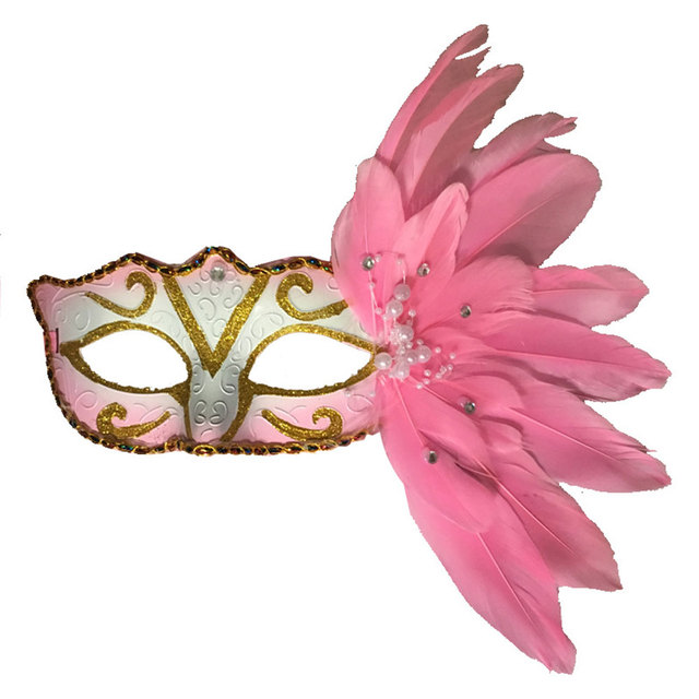 Feather Colored Drawing Face Mask Masquerade Dance Prop Ornament 8 Colors