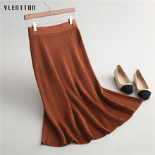 2018 New Spring autumn Long Knitted Skirts Women Solid Color High Waist Casual A-Line Flared Skater Skirt Saisa Faldas Mujer shein girls black solid button up belted casual girls skirts kids clothing 2019 spring fashion a line preppy long flared skirts