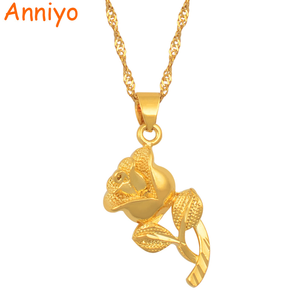 146d608f311c4 Anniyo Flower Necklaces for Women Gold Color and Brass,Charm Rose Pendant  Jewelry Wife / Mama Gifts #000136