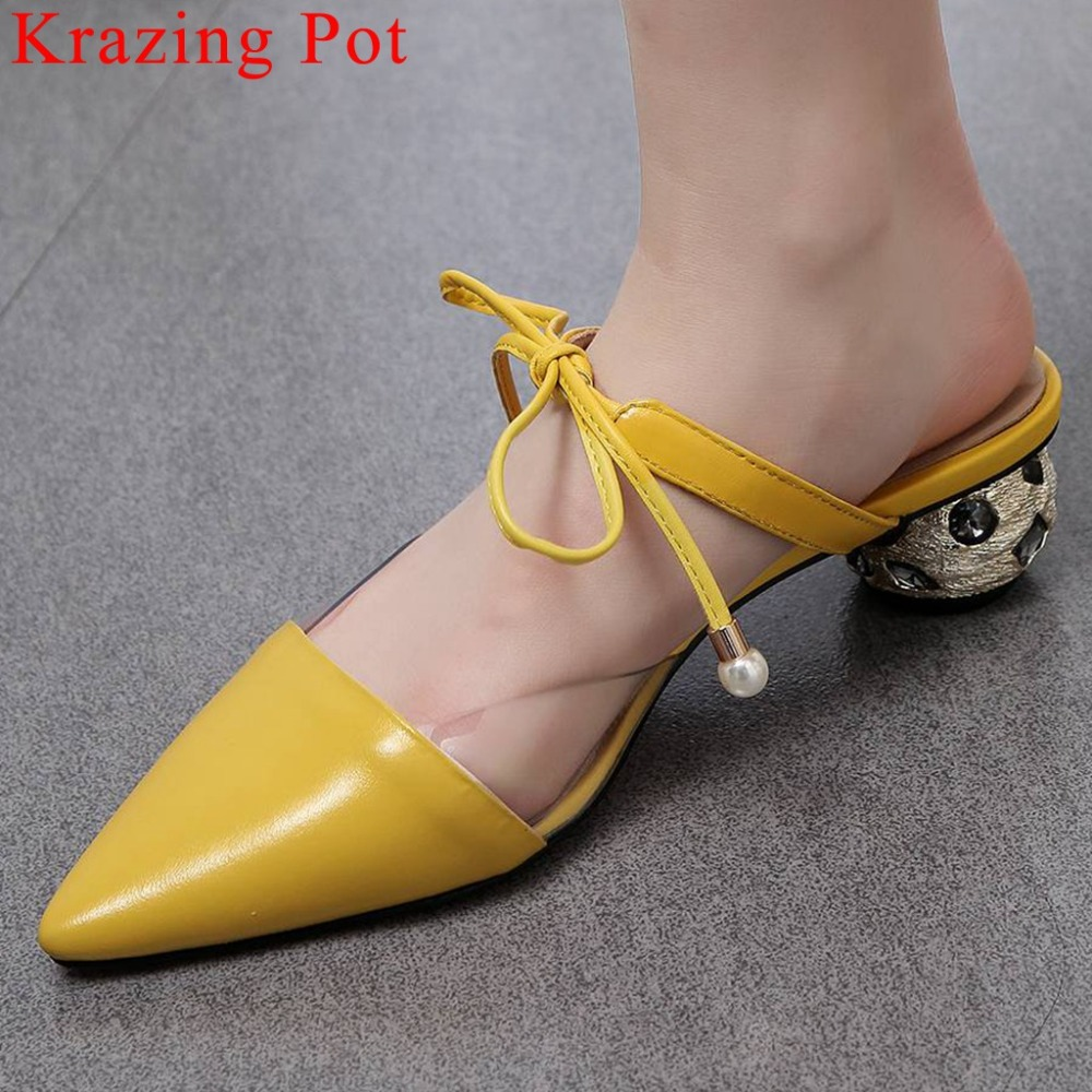 Krazing 냄비 bowtie 정품 가죽 지적 발가락 크리스탈 장식 chunky 하이힐 젤리 신발 슬립 플러스 사이즈 샌들 L08-에서여성용 펌프부터 신발 의  그룹 1
