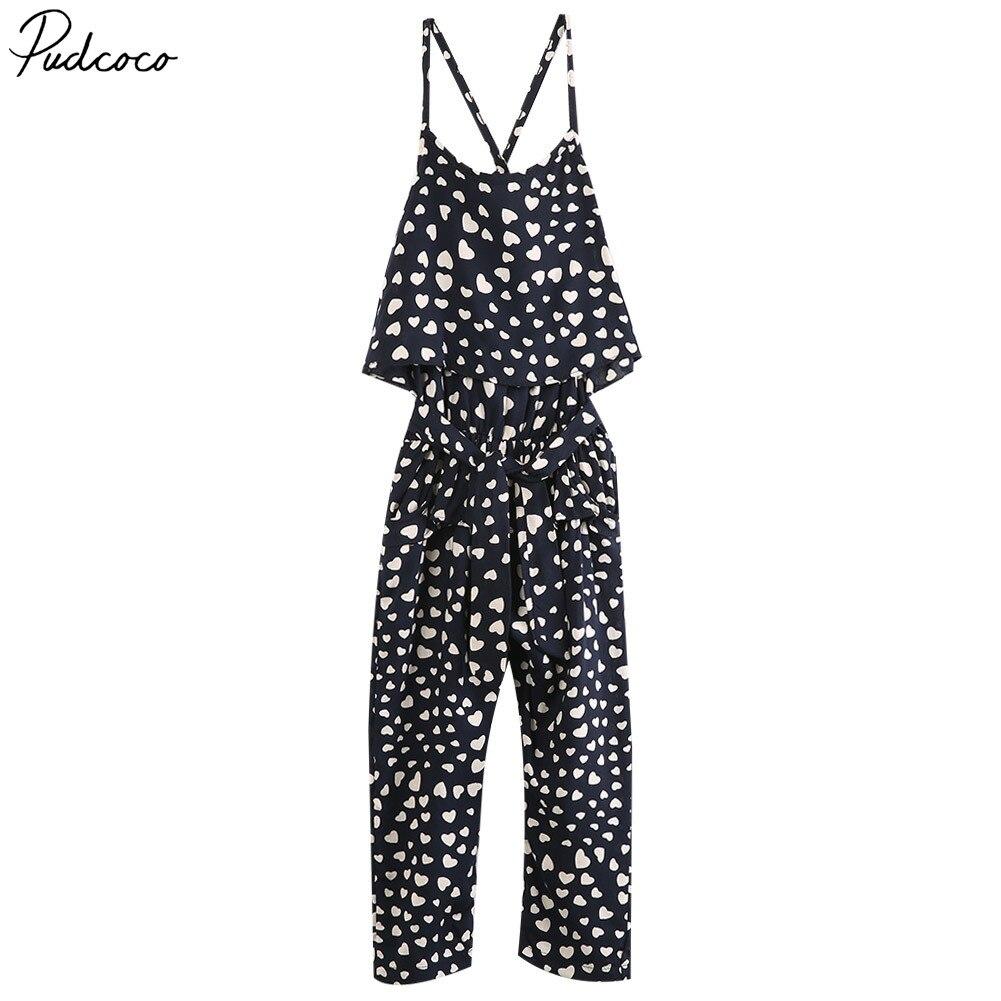 Fashion Kasual Hot Musim Panas Anak Perempuan Straps Celana Katun Hitam + dot Jumpsuit 2-7years