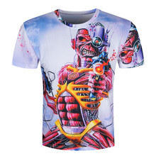Men Skull 3D T-shirt Print Short Sleeve 2016 Hip Hop Rock Tee Character Funny t shirts Marcelo Burlon Brand Clothing