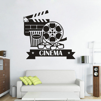 Vinyl Wall Stickers For Cinematography Cinema Room Wall Decals Removable Movie Space Decoration Popcorn Vinyl Poster AZ351 image