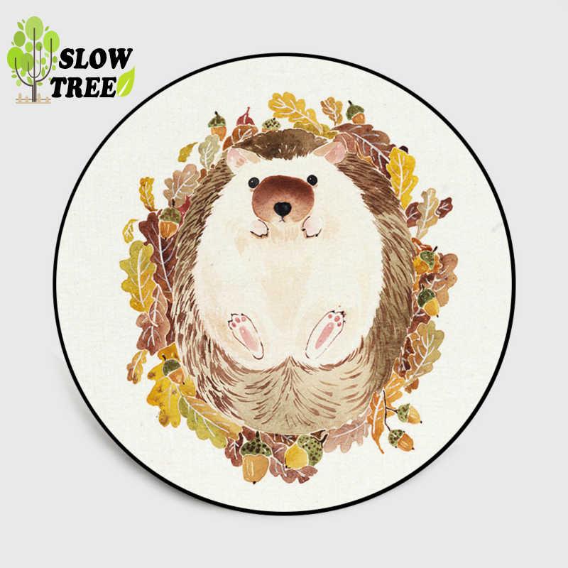 Медленный дерево круглый ковер милый акварельный мультяшный аниматорный животные круглый коврик гостиная кристалл бархатистый коврик напольный коврик