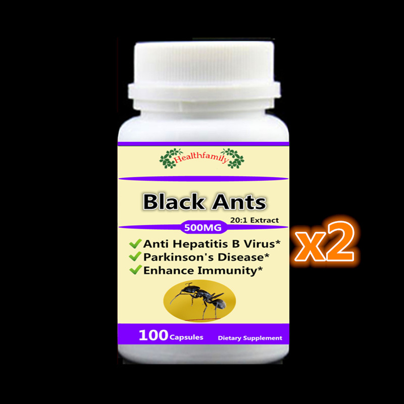 2 bottles Natural Black Ants PE. 20:1 ,Treatment of hepatitis B & Parkinson's Disease, Enhance Immunity - free shipping live giant lighted ecosystem ant habitat shipped with 25 live ants now 1 tube of ants