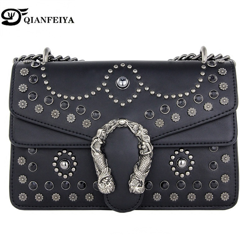 Luxury Brand Rivet Chain Casual Shoulder Messenger Bags Women Leather Bags Gem Famous Designer Handbag Ladies luis vuiton gg bag luxury brand rivet chain casual shoulder bags women famous designer lock messenger bag retro women leather bag gg bag sac a main