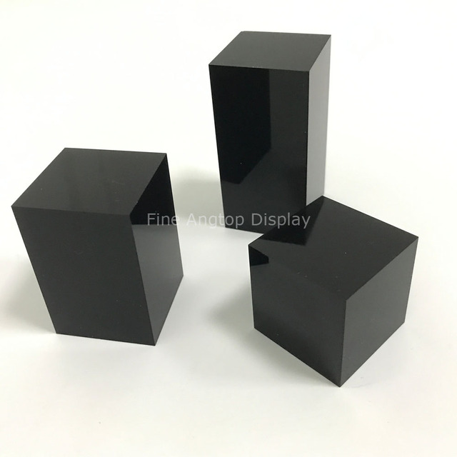 Display Block Black Acrylic Jewellery Stands Platform Square Exhibition Show Solution For Rings Necklace Bracelet