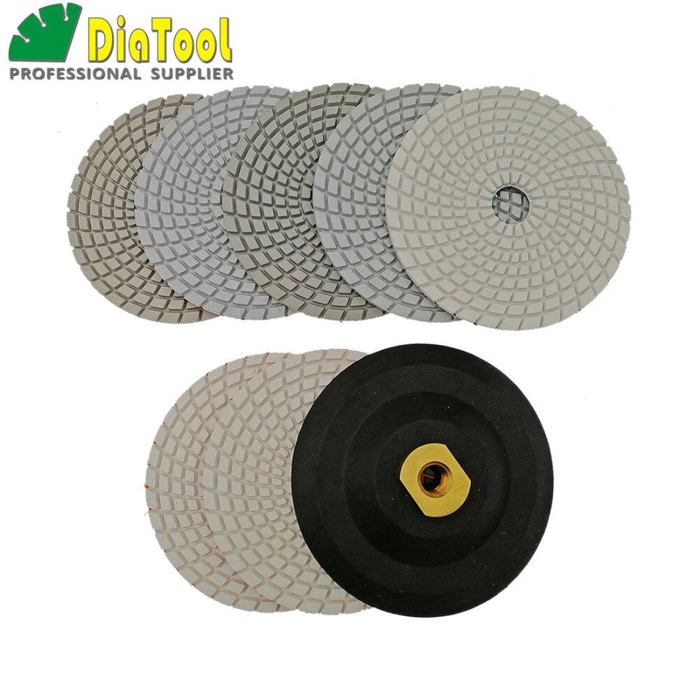 DIATOOL 7pcs/set + Backer 125MM Diamond Flexible Polishing Pads For Stone, Granite&marble, White Bond, Stone Sanding Discs