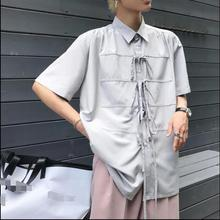 Homemade chic design for a variety of wear law rope ribbon loose neutral breathable short sleeve shirt.
