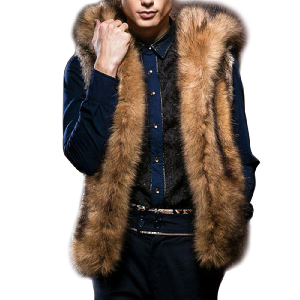 fe43cbae76e Detail Feedback Questions about Fashion Winter Men Males Fur Vest Hoodie  Hooded Thick Fur Warm Waistcoats Sleeveless Coat Outerwear Jackets Plus Size  S 3XL ...