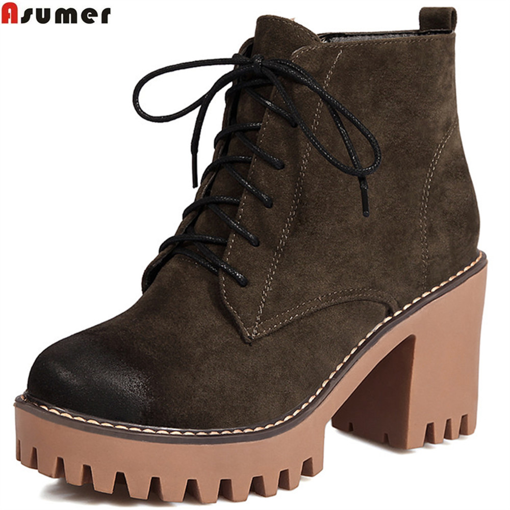 ASUMER 2020 fashion new arrive women boots round toe ladies shoes square heel zipper flock ankle